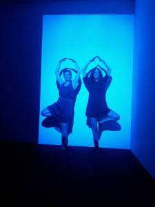 """James Turrell """"Ocra Blue"""". Me and my friend """"playing"""" with art :)"""